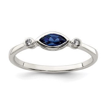 Sterling Silver Polished Created Sapphire and White Topaz Ring