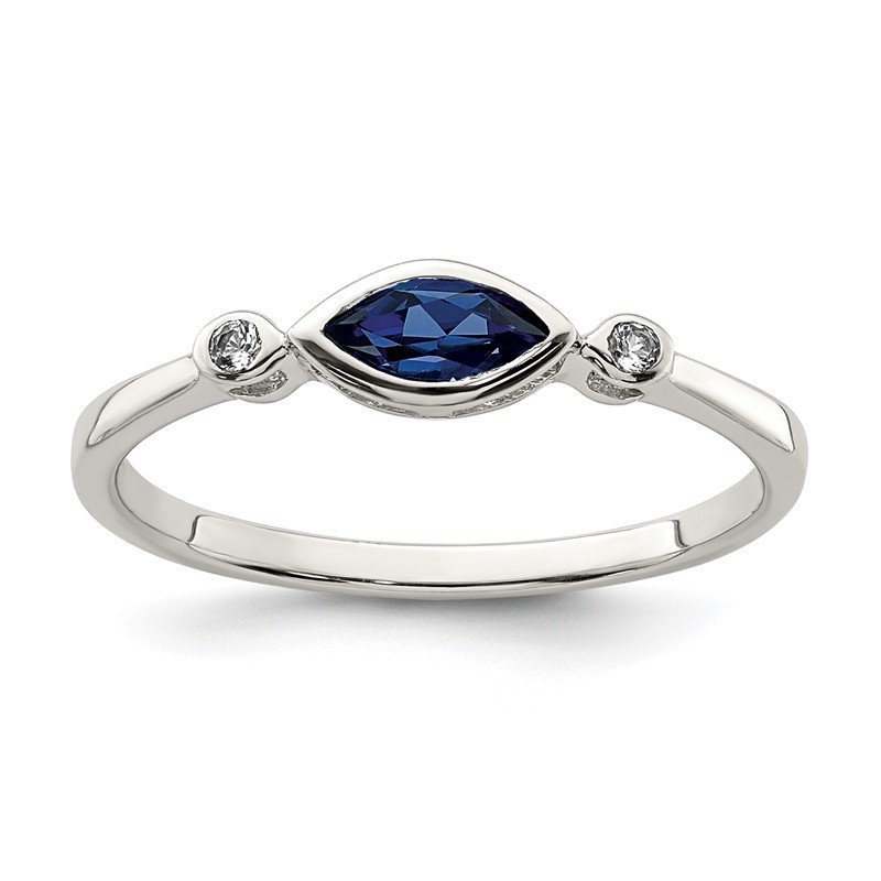 Quality Gold Sterling Silver Polished Created Sapphire and White Topaz Ring
