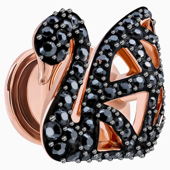 Facet Swan Tack Pin, Black, Rose-gold tone plated