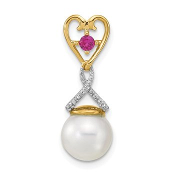 14k Diamond 8-9mm Round FWC Pearl/Created Composite Ruby Pendant