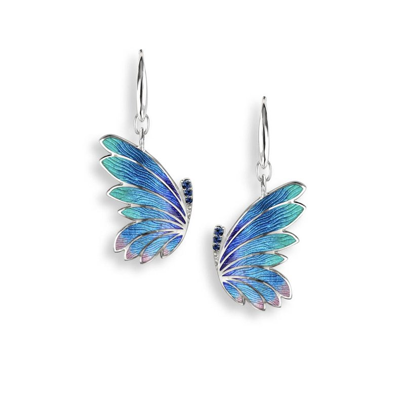 Nicole Barr Designs Blue Butterfly Wire Earrings.Sterling Silver-Blue Sapphires