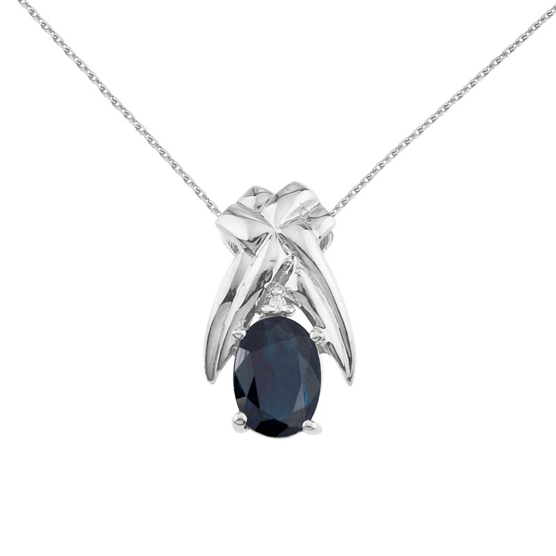 Color Merchants 14k White Gold 7x5mm Oval Sapphire and Diamond Pendant