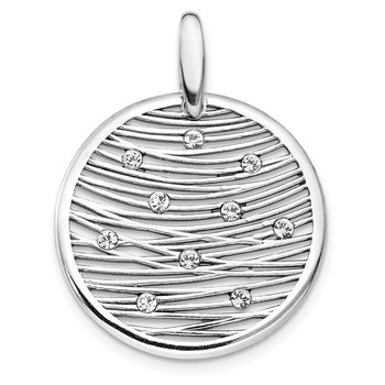 Leslie's Sterling Silver Polished Preciosa Crystal Pendant
