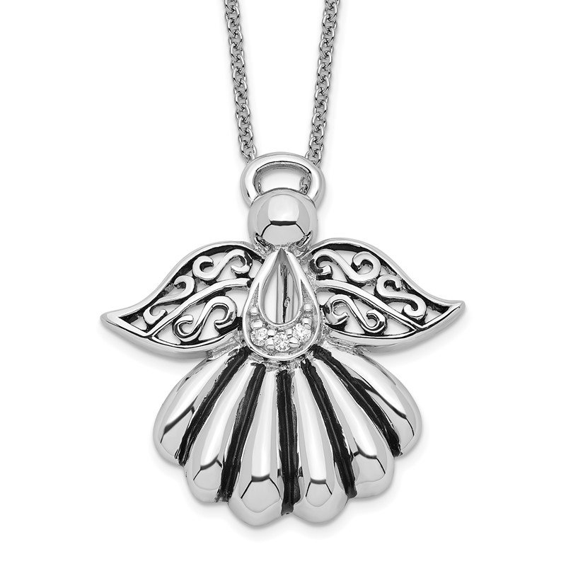 Quality Gold Sterling Silver CZ Antiqued Angel of Remembrance 18in Necklace