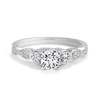 Contemporary Engagement Ring with Scalloped Bezel-Set Accent Diamonds