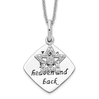 Sterling Silver Antique CZ I Love You To Heaven and Back 18in Star Necklac