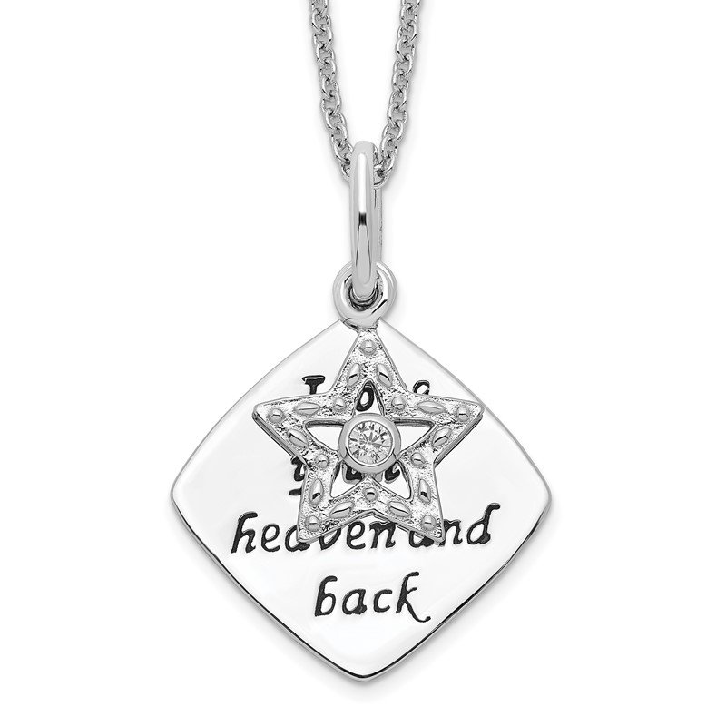 Quality Gold Sterling Silver Antique CZ I Love You To Heaven and Back 18in Star Necklac