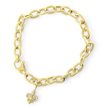 14K Gold Link Bracelet with Fleur de Lis Charm, Small