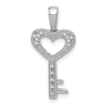 14k White Gold 1/20ct. Diamond Heart Key Pendant