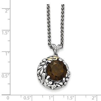 Sterling Silver w/14k Smoky Quartz Necklace