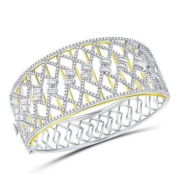 14kt Two-tone Gold Womens Round Baguette Diamond Zigzag Bangle Bracelet 4-1/2 Cttw