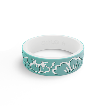 Women's Strata Mint & White Hibiscus Silicone Ring
