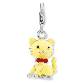 Sterling Silver Enameled 3-D Cat w/bow tie w/Lobster Clasp Charm