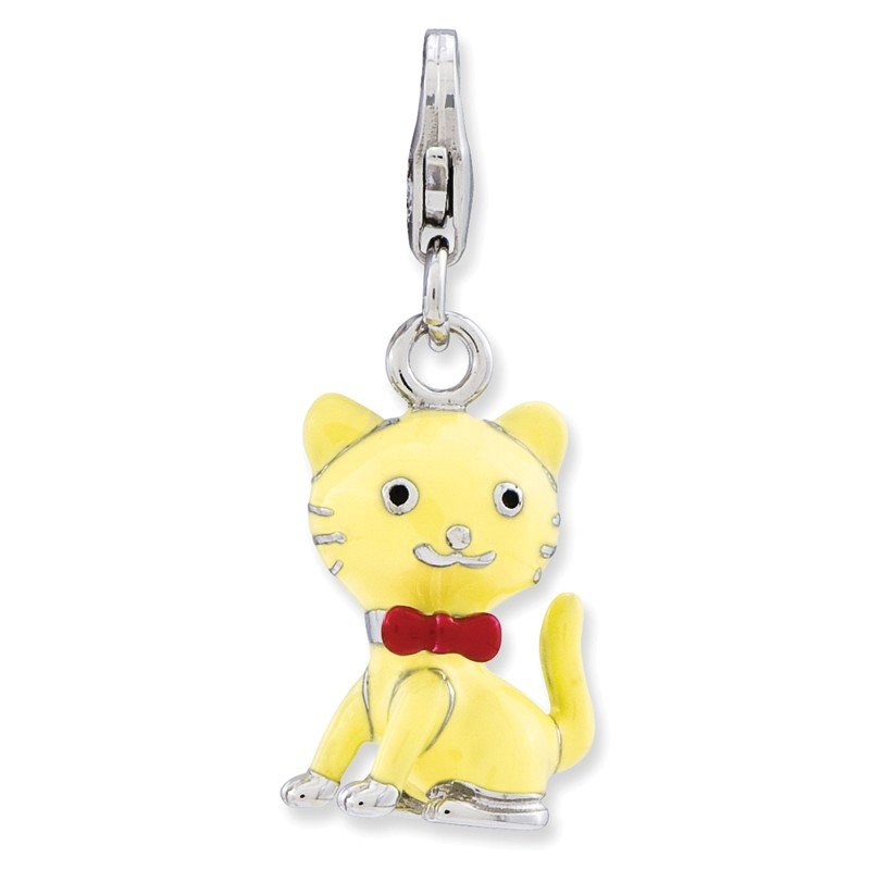 Quality Gold Sterling Silver Enameled 3-D Cat w/bow tie w/Lobster Clasp Charm