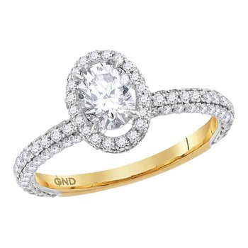 14kt Yellow Gold Womens Oval Diamond Solitaire Bridal Wedding Engagement Ring 1-3/4 Cttw