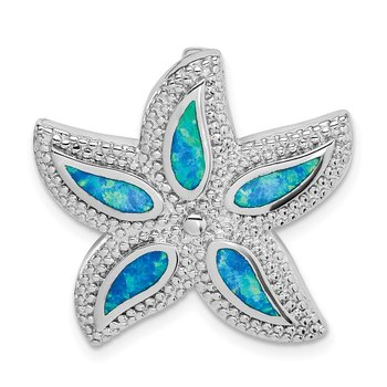 Sterling Silver Rhodium-plated Created Blue Opal Starfish Slide