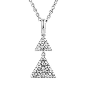 Double drop triangle 14K gold pendant set with diamonds 0.18CT