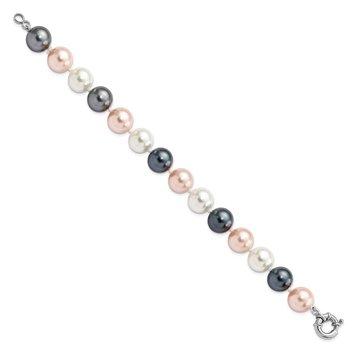 Sterling S Majestik Rh-pl 12-13mm Multi-Color Imitat Shell Pearl Bracelet