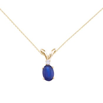 14k Yellow Gold Sapphire and Diamond Oval Pendant
