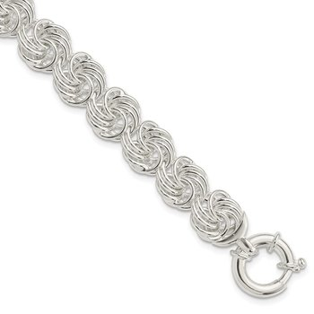 Sterling Silver Polished Circles Fancy Link Bracelet