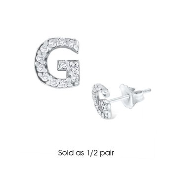 "Diamond Single Initial ""G"" Stud Earring (1/2 pair)"