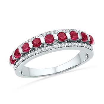 10kt White Gold Womens Round Lab-Created Ruby Diamond Band Ring 1.00 Cttw