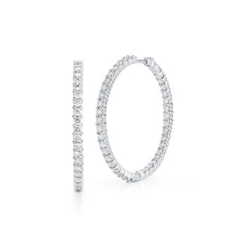 Large Inside Outside Diamond Hoop Earrings