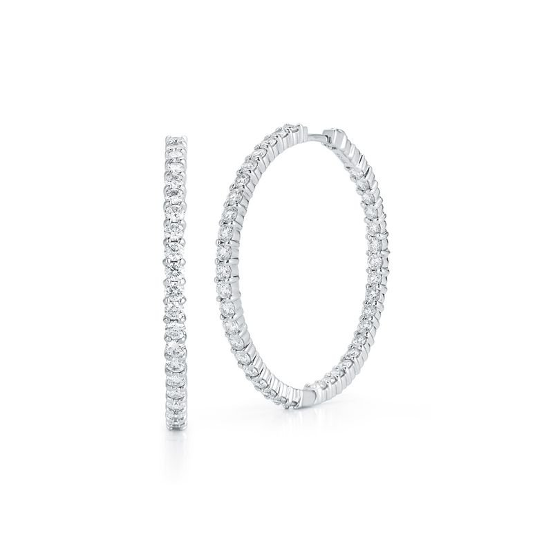 Roberto Coin Large Inside Outside Diamond Hoop Earrings