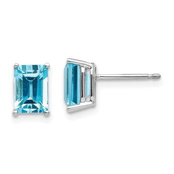 14k White Gold 7x5mm Emerald Cut Blue Topaz Earrings