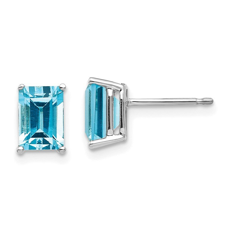 Quality Gold 14k White Gold 7x5mm Emerald Cut Blue Topaz Earrings