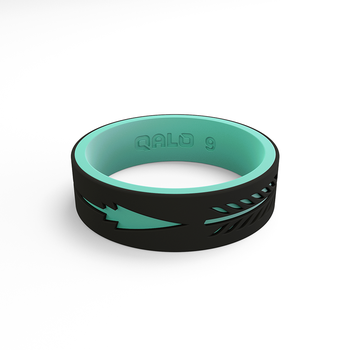 Women's Strata Black & Aqua Arrow Silicone Ring
