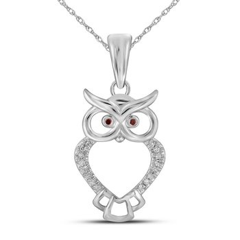 10kt White Gold Womens Round Red Color Enhanced Diamond Owl Bird Animal Pendant 1/20 Cttw