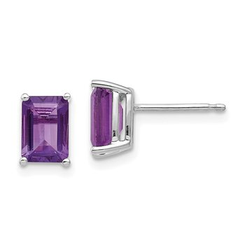 14k White Gold 7x5mm Emerald Cut Amethyst Earrings