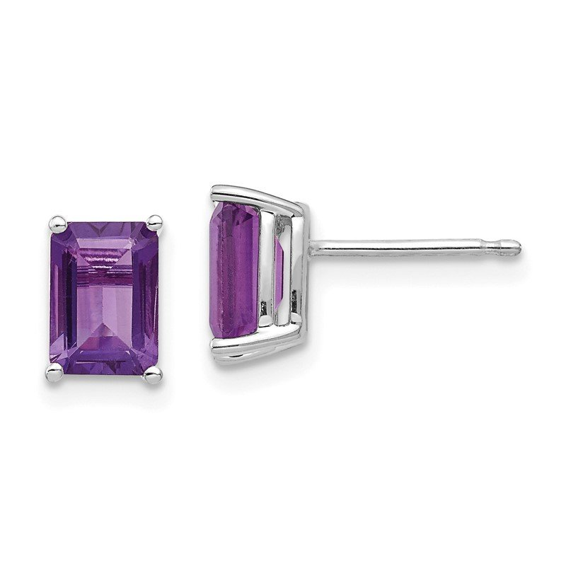 Quality Gold 14k White Gold 7x5mm Emerald Cut Amethyst Earrings