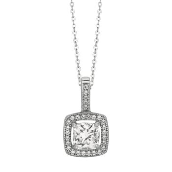 Silver Cushion CZ with Halo Necklace