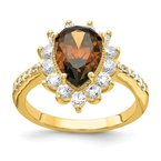 Cheryl M Cheryl M Sterling Silver & Gold-plated Brown Brilliant-cut CZ Ring