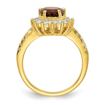 Cheryl M Sterling Silver & Gold-plated Brown Brilliant-cut CZ Ring