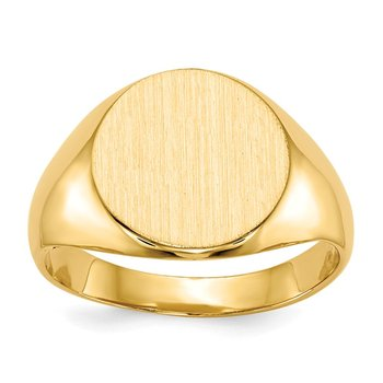 14k 11.5x12.0mm Closed Back Signet Ring