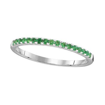 14kt White Gold Womens Round Natural Emerald Single Row Band Ring 1/6 Cttw