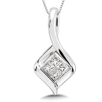Invisible set Princess cut Diamond Pendant in 14k White Gold (1/5 ct. tw.)