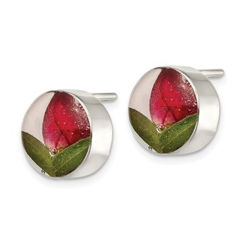Sterling Silver Shrieking Violet Real Rose Bud Post Earrings