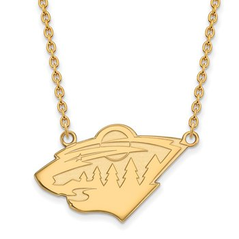 Gold-Plated Sterling Silver Minnesota Wild NHL Necklace