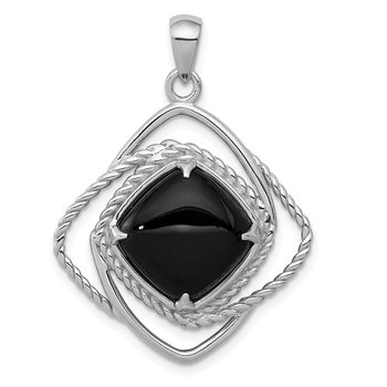 Sterling Silver Onyx Square Pendant
