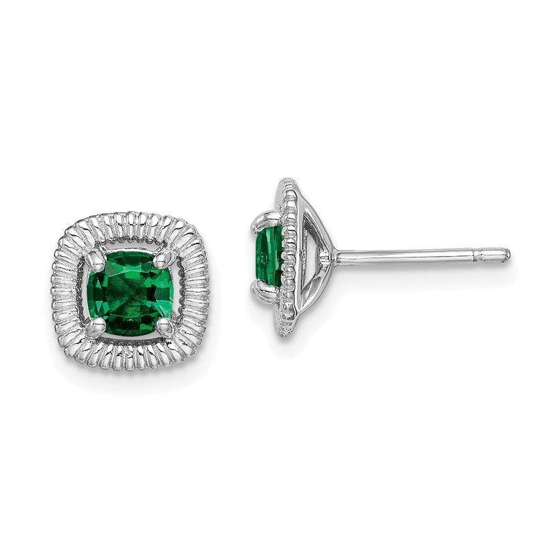 Quality Gold Sterling Silver Rhod-plat Created Emerald Square Post Earrings