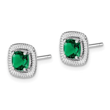 Sterling Silver Rhod-plat Created Emerald Square Post Earrings