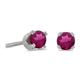 3 mm Petite Round Rhodolite Garnet Screw-back Stud Earrings in 14k White Gold