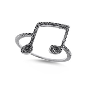 Black Diamond Music Notes Ring in 14K White Gold with 50 Diamonds Weighing .23ct tw