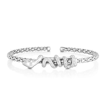 Sterling Silver Il Serpente Popcorn Cuff Diamond Bangle