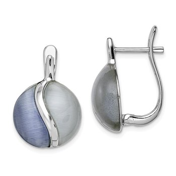 Sterling Silver Rhodium-plated Round Created Cats Eye Hinged Earrings