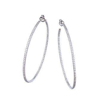 Xxlarge Inside Outside Diamond Hoop Earrings